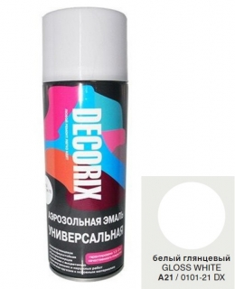 Аэр. эмаль DECORIX A21,Белый глянц. 520мл/12/